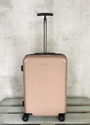Валіза кольору рожеве золото, європейська якість, чемодан из поликарбоната