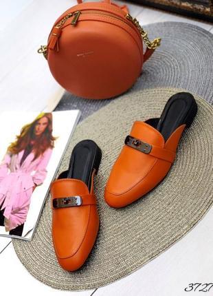 💥 шикарные оранжевый шлепанцы мюли с закрытым носком