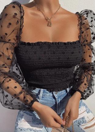 Кофточка/блузочка с фатиновыми рукавами-фонариками