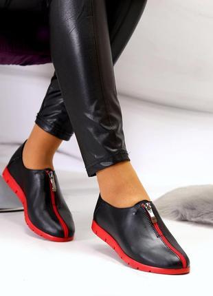 Натуральные кожаные туфли /лоферы /мокасины с красной подошвой 36-40