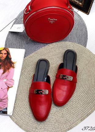 💥 стильные кожаные шлепанцы с закрытым носком мюли