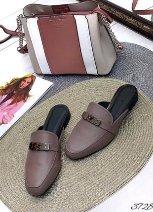 💥 стильные кожаные шлепанцы мюли с закрытым носком