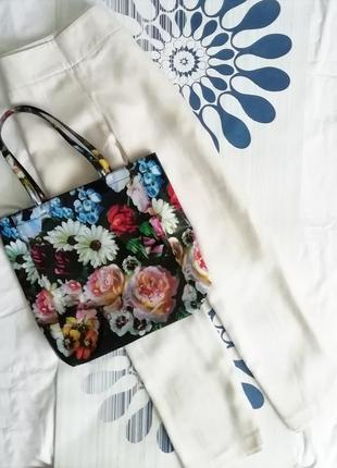 Большая пляжная лаковая сумка в цветочный принт шоппер вместительная прямоугольная