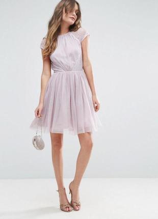 Новое с биркой лиловое платье фатин французское кружево asos размер 10
