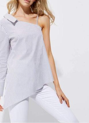 Стильна сорочка, рубашка в полоску на одне плече