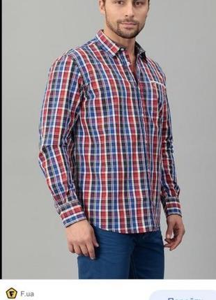 Сорочка tom tailor рубашка короткий рукав длинный клітка клетка