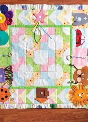 Детское игровое одеяло-коврик с развивающими игрушками из фетра