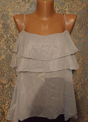 Легкая невесомая блузка , майка , воланами и открытыми плечами р.м/l