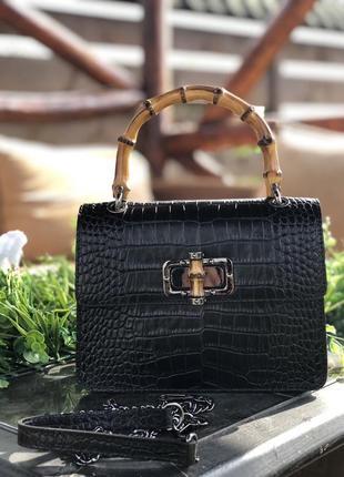 Кожаная сумка чёрная клатч италия чорна шкіряна сумка італія