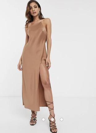 Платье комбинация миди атласное asos
