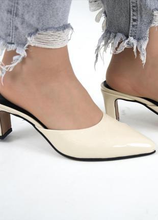 Кожаные лаковые мюли натуральная кожа шлепанцы с закрытым носком летние туфли без задника