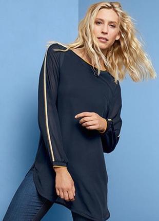 Новая блуза -туника с контрасными лампасами от tchibo (германия).
