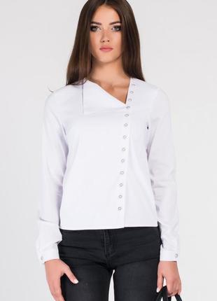 Белая блуза, белая рубашка, блуза с косым воротом, блуза с отложным воротником
