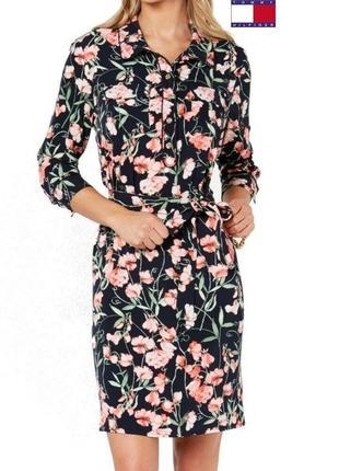 Платье-рубашка женское tommy hilfiger classic black size 2 с цветочным принтом $ 109