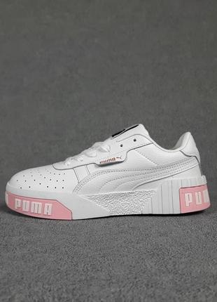 Женские кроссовки puma cali белые с розовым / жіночі кросівки пума білі