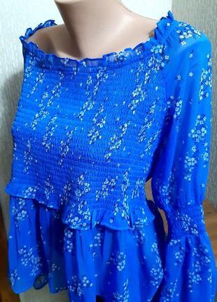 Шикарная блузка синего цвета в цветочный принт asos made in india с биркой