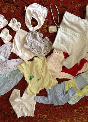 Пакет детской одежды 0-3 месяца шорты распашонки ползуны штанишки куртка бодик человечек