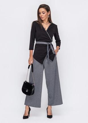 Стильный костюм комплект жакет брюки асимметрия