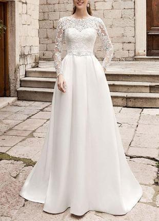 Свадебное платье а-силуэта кружевное длинными рукавами карманами атласное айвори св-93