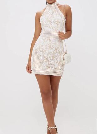 Идеальное нюдовое платье. кружевное летнее платье