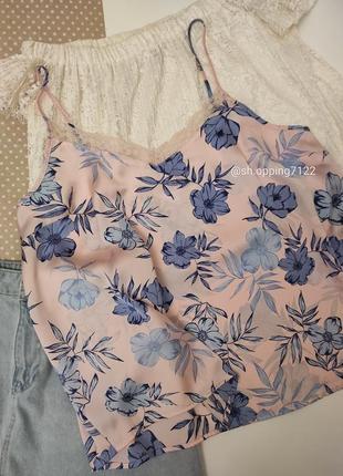 Нежная майка для сна / дома в цветочный принт с кружевом / розовая майка