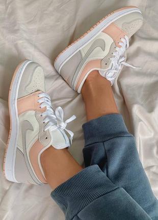 Nike jordan 1 retro low beige/pink кроссовки8 фото