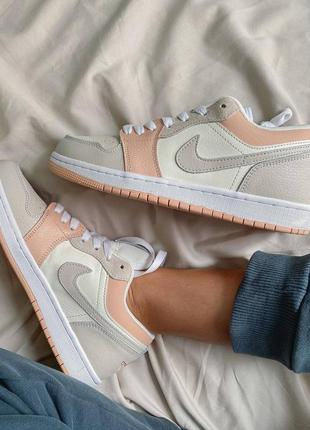 Nike jordan 1 retro low beige/pink кроссовки
