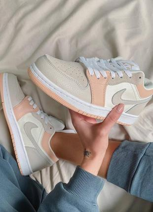 Nike jordan 1 retro low beige/pink кроссовки4 фото