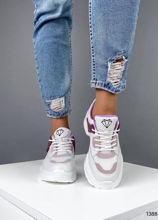 Белые кожаные кроссовки (натуральная кожа и замша)