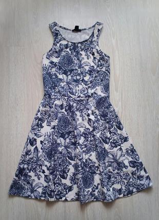 Трикотажное платье миди цветочный принт