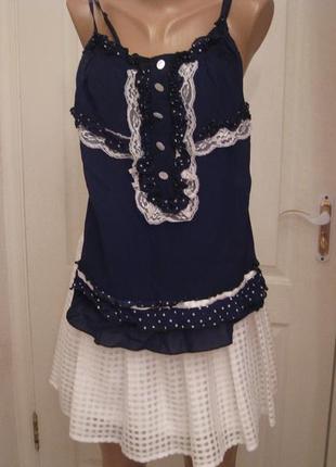 Блуза шифоновая в горошек с кружевом  на бретелях
