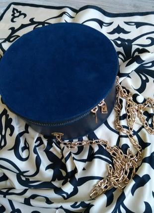 Стильные круглые женские сумки, клатчи на цепочке в стиле bohoo, синяя, в расцветках