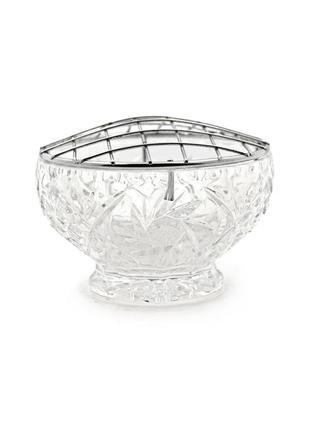 Шикарная ваза rose bowl. хрусталь, посеребрение.  европа, 20 век.