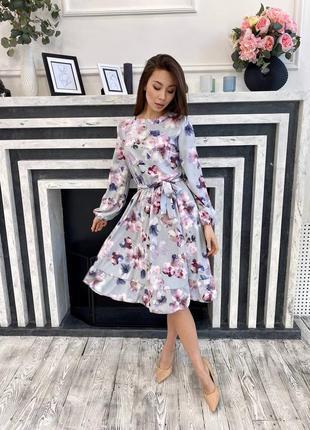 Нежное миди платье в цветы с поясом объемный рукав ал.м