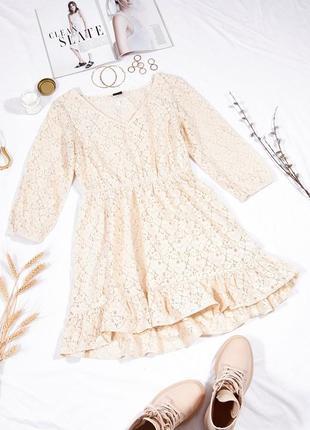 Кружевное платье кремовое, мереживна сукня кремова