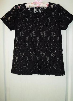 Кружевная черная блуза