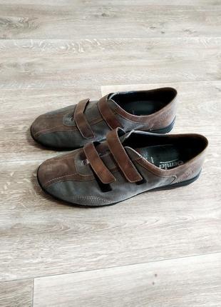 Комбинированные кожаные замшевые кросовки на весну