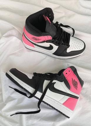 Женские кроссовки nike air jordan🔥демисезонные белые-розовые найк