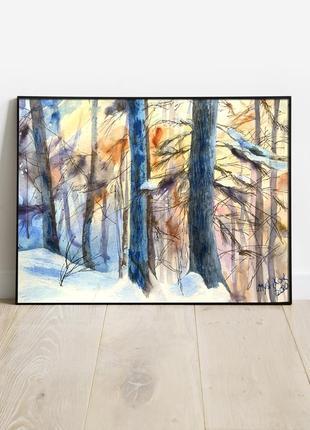 Картина акварель+графика зимний пейзаж