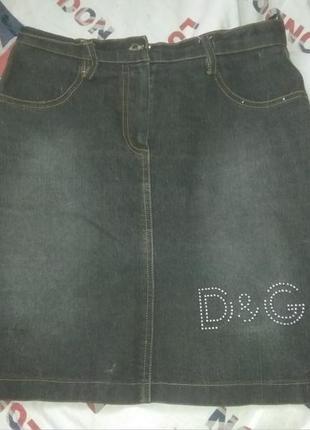 Юбка джинсовая, мини d&g со стразами