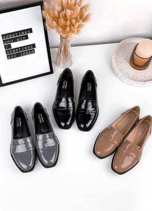 Шикарные низкие туфельки из натуральной лаковой кожи