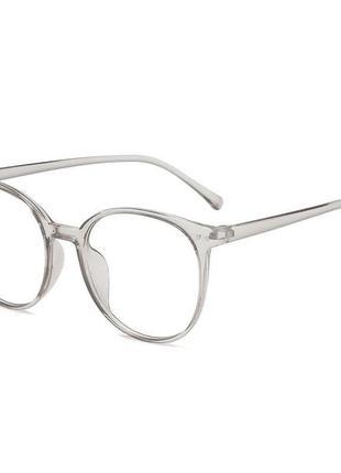 Стильные имиджевые очки для компьютера прозрачные серые с антибликовым покрытием унисекс