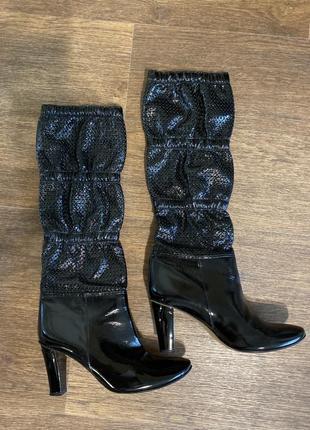 Итальянские сапоги каблуки кожа