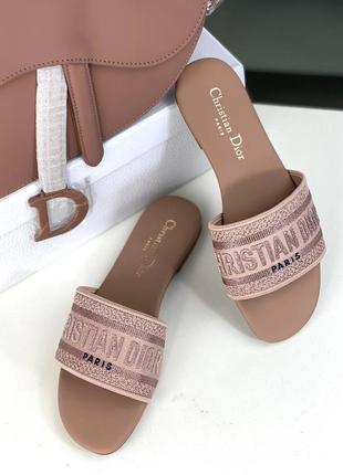 Шлепанцы кожаные женские розовые пудровые брендовые люкс