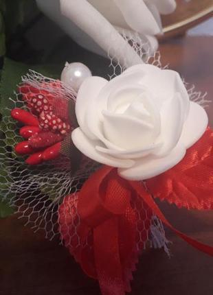 Бутоньерка свадебная белая роза