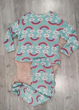 Мятны теплый домашний костюм пижама uk 20-22 с радугой и облаками