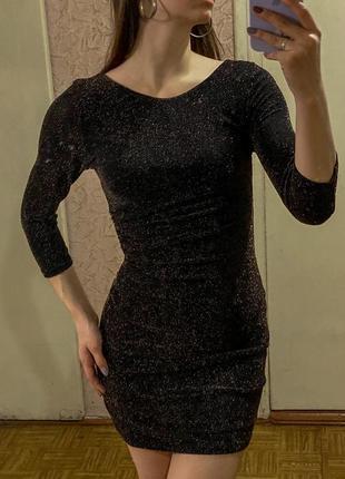 Черное облегающее мини платье в блестках new look4 фото