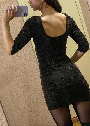 Черное облегающее мини платье в блестках new look2 фото