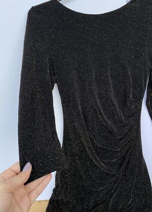 Черное облегающее мини платье в блестках new look5 фото