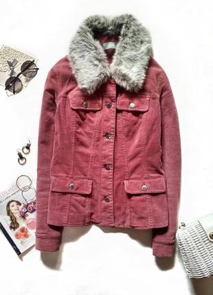 Брендова вельветова куртка жакет з хутряним комірцем/вельветовая куртка пиджак